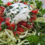 Zucchini spaghetti and almond mayonnaise salad